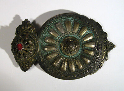 Antique Amazing Silver Billon Belt Buckle With Red Glass Stone #897