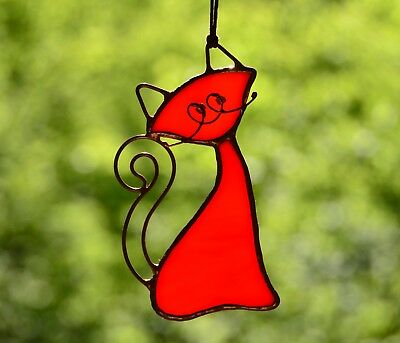 Stained glass cat, cat lover gift, cat decoration, cat suncatcher, сat ornaments