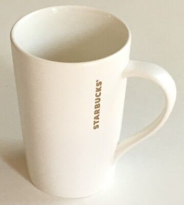 Starbucks 2012 White With Gold Lettering 12oz Tall Ceramic Coffee Latte Mug Cup
