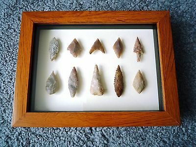 Neolithic Arrowheads in 3D Picture Frame, Authentic Artifacts 4000BC (1062)