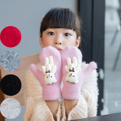 Cartoon Bear Rabbit Furs Wool Mittens Autumn Winter Kids Fashion Cashmere Gloves
