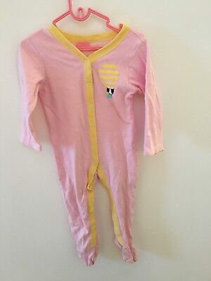 12-18 Months Pink And Yellow BabyGrow All In One Nutmeg Long Sleeve