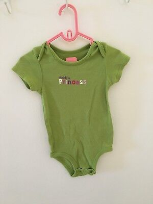 Carter's 12 Months Green Girl Baby Short Sleeve Vest Saying Daddy's Princess
