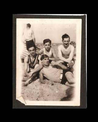 Vintage Found Photo 1920s Teens at Beach Teen Boys Gay Interest Queer Bathers
