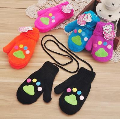 Kids Thicken Warmer Gloves Autumn Winter Footprints Acrylic Cotton Fashion Mitts