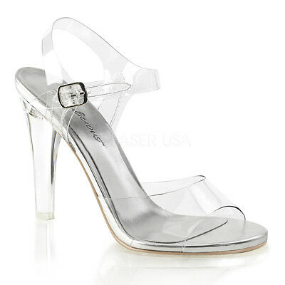 36acd5207a9 Pleaser Fabulicious Clearly 408 Clear Lucite Ankle Strap Bikini Posing  Sandals