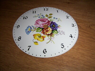 "Round Rustic Style Paper Clock Dial- 5"" M/T- Flowers - Face / Clock Parts"