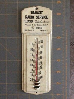 Antique Depew NY Transit Radio Service Wall Thermometer Phone RE 2553 Take Look!