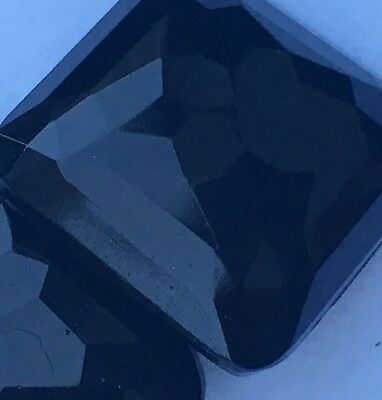 Pair of Large Square Faceted Black Glass Vintage Buttons With Brass Fastenings