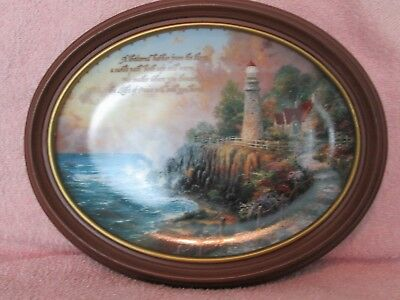 "Thomas Kinkade ""The Light of Peace"" Bradford Exchange Wood Frame Oval Plate"