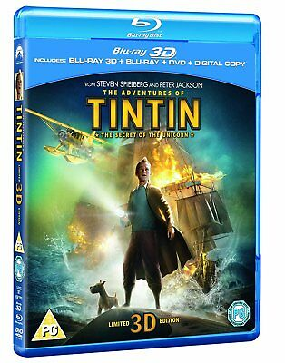 The Adventures of Tintin 3D + 2D Blu-ray + DVD + Digital BRAND NEW Free Ship