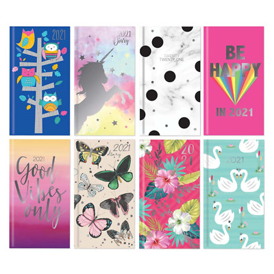 2019 Slim Cute Girly Padded Diary Week to View Diaries Flamingo Floral Owls Dogs
