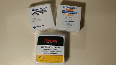 3 Boxes of Microscope Slides Assorted Fisherbrand McKesson Thermo - Brand New