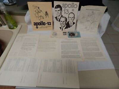 Vintage Nasa Apollo 13 Pre-Launch Route And Press Kit With Pass & More.100%orig