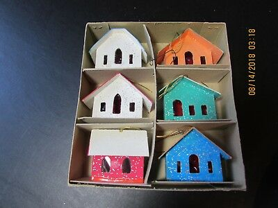 Vintage 6 Christmas  Decorations  Paper Minni Houses Japan,Box Woolworth