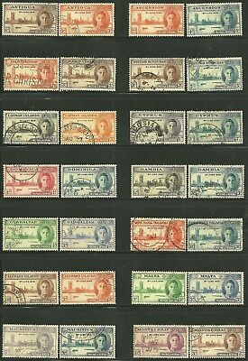 British Colonies, 1946 VICTORY Issues. 14 Different Countries. USED. (Lot # 1)