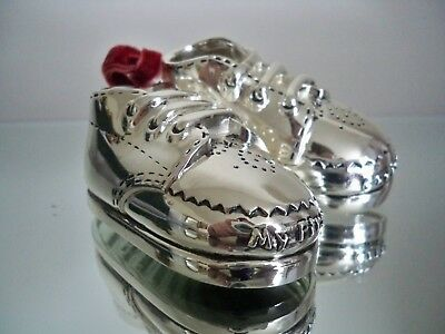 Things Remembered Silverplate Baby Shoe Bootie Ornament & Gift Box Collectible