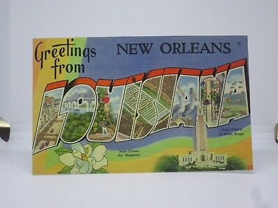 Vintage Postcard Greetings from New Orleans Louisiana Large Letter Tichnor