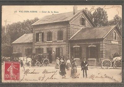Cpa Carte Postale France Frankreich Vic Sur Aisne Gare Train Animee 1909
