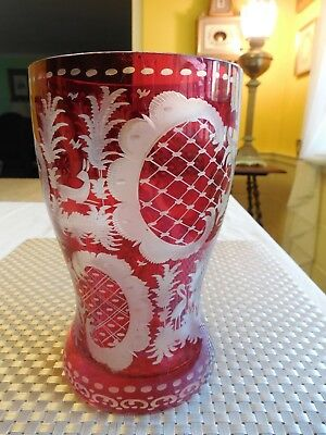 """Antique Bohemian Ruby Red Cut Clear ETCHED Glass Vase;  7.25"""" Tall"""