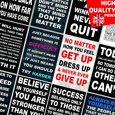 INSPIRATIONAL MOTIVATION QUOTE TRAINING  A4 Poster Print 260gsm