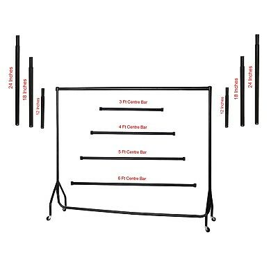 Heavy Duty Black Garment Rail Clothes Home Retail Hanging Display Portable Rack