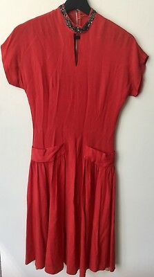 VINTAGE 1940's BRICK RED CREPE BEADED  DAY Dress Swing Dress S