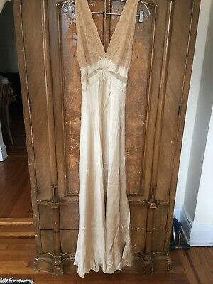 1900's Very Rare Antique Silk Irish Lace Dress w embroidered initials long gown