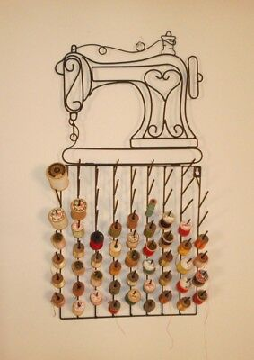 Nice Metal Sewing Machine Thread Wall Holder With 46 Wood Spools