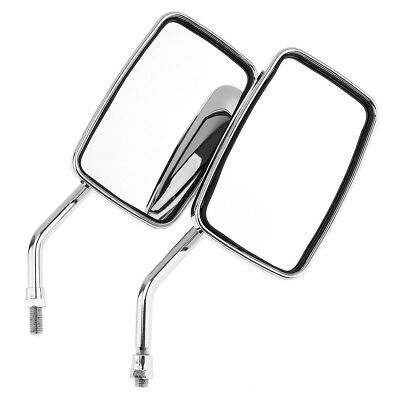 Universal Motorcycle Motorbike Large Vision Chrome Rearview Side Mirrors 10mm 2x
