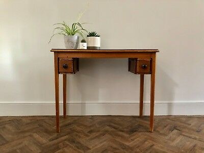 Vintage Retro Wooden Desk With 2 Small Drawers And A Grey White Laminate Top