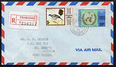 Trinidad & Tobago - 1973 Registered Airmail Cover to Antigua, New Town Postmarks