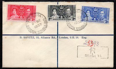 Somaliland Protectorate - 1937 Registered Cover to London