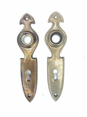 Vintage Art Nouveau Door Backplates **Matching Pair** Antique Hardware