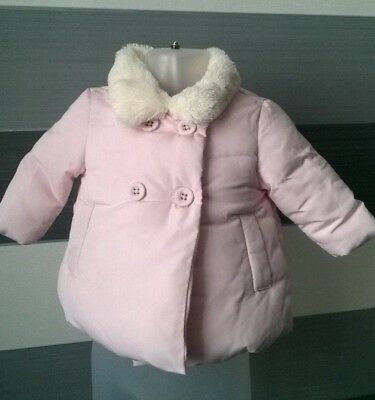 Baby Girls Pink Padded Coat Faux Fur Collar 0-3 months Next