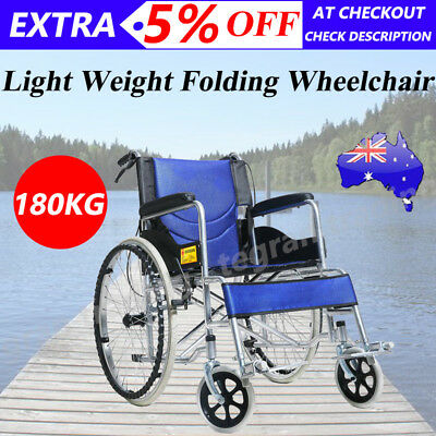 """24"""" Folding Wheelchair +Park Brakes Lightweight Soft Mobility Aid Max Load 180kg"""