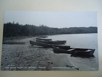 Real Photo Postcard Big Bear Lake at Moore's Cabins Johannesburg Michigan