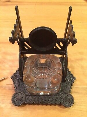 Antique Inkwell-Metal Frame With Cut Glass Bottle--Circa 1900's