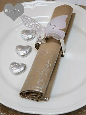 SET OF 4 Heart Shaped Napkin Rings, Place Card Holders