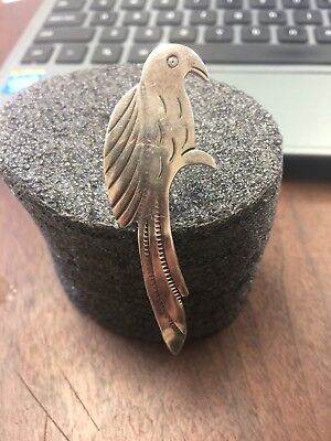 vintage sterling silver  native american parrot bird pin brooch 60 mm longs