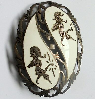 Large Antique or Vintage Beautiful Sterling Silver and White Enamelled Brooch.