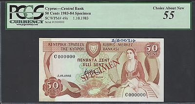 Cyprus 50 Cent 1-10-1983 P49s Specimen  About Uncirculated