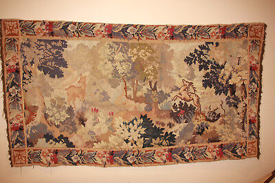 19th century french tapestry with a stag, doe, dogs and a hidden rabbit