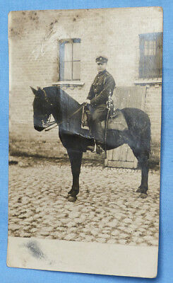 Original 1923 Photograph - Latvian Cavalry Trooper On Horse With Sword