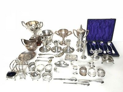 HUGE Job Lot Of Antique Solid Silver Items - Hallmarked Assay 2070 Grams 2KG!