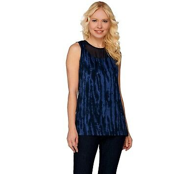 Lisa Rinna Collection Printed Knit Top with Sheer Neckline Navy Large Size QVC