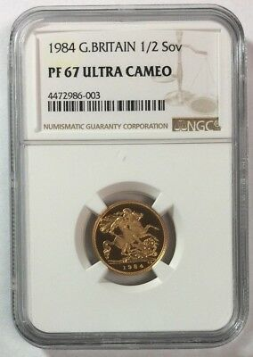 1984 Great Britain Gold 1/2 Sovereign PF 67 Ultra Cameo NGC SKU#11047