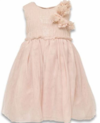 Ex Store Baby Girls Pink Mesh Net Flower Lined  Party Dress Age 3/6 & 18/24 Mths