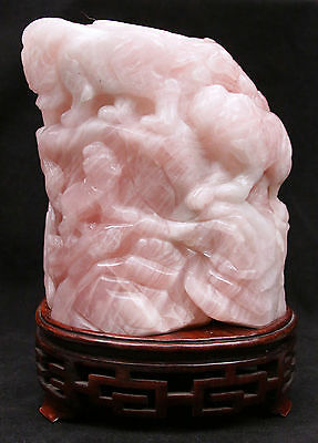 Large Antique Chinese Qing Rose Quartz Brush Pot Holder Vase Scholar Foo Dog Old