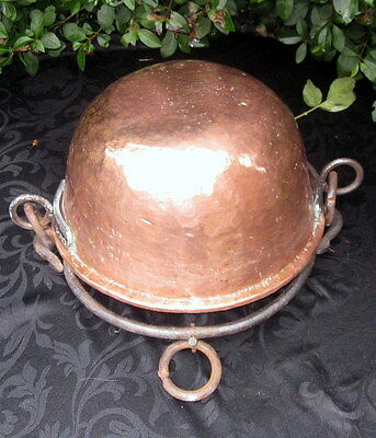French vintage copper hand beaten cooking pot or planter.
